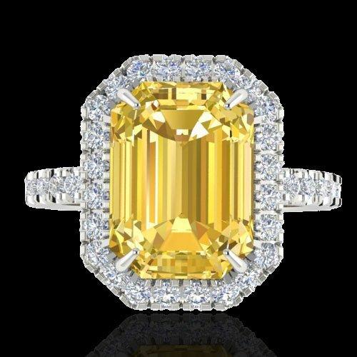 4.50 CTW Citrine And Micro Pave Diamond Halo Ring 18K