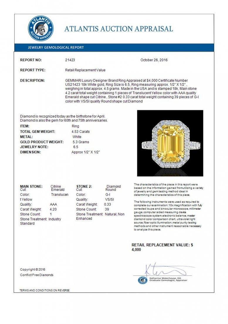 4.50 CTW Citrine And Micro Pave Diamond Halo Ring 18K - 3