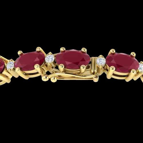 15 CTW Ruby & Diamond Eternity Bracelet Gold