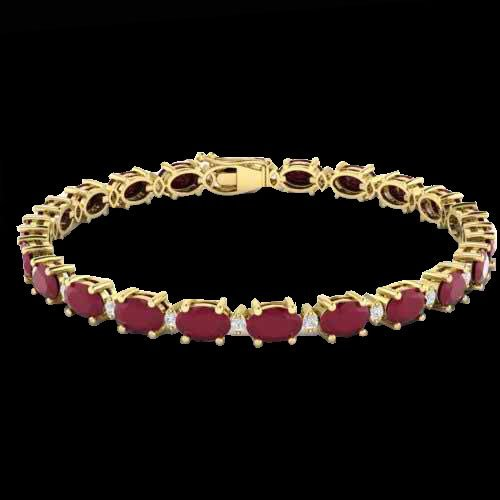 15 CTW Ruby & Diamond Eternity Bracelet Gold - 2