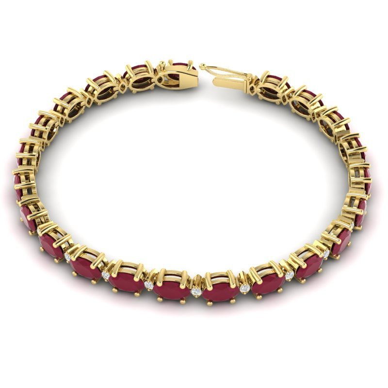 15 CTW Ruby & Diamond Eternity Bracelet Gold - 3