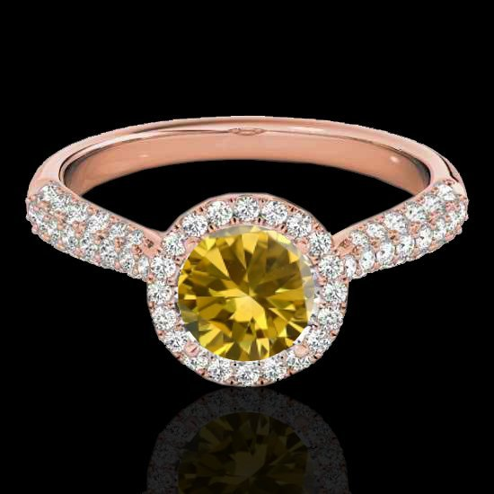 1.4 CTW Fancy Intense Yellow Diamond Solitaire Halo