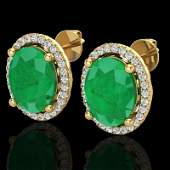 6 CTW Emerald  Micro Pave Diamond Earring Halo 18K