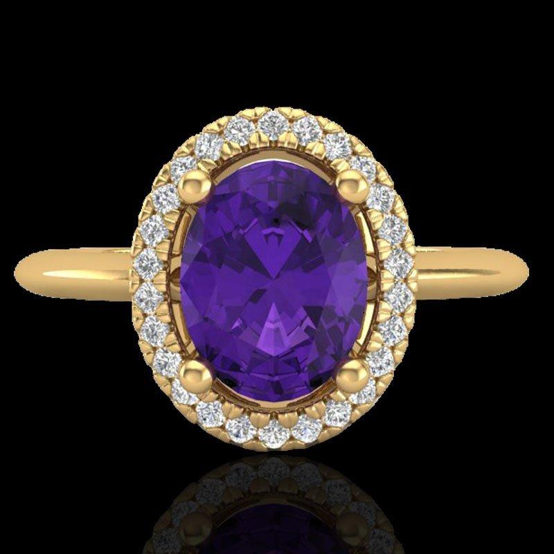 1.75 CTW Amethyst & Micro Diamond Ring Solitaire Halo