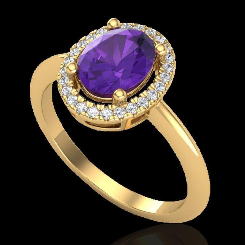 1.75 CTW Amethyst & Micro Diamond Ring Solitaire Halo - 2