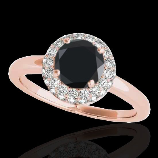 1.43 CTW Black Diamond Bridal Solitaire Halo Ring Gold