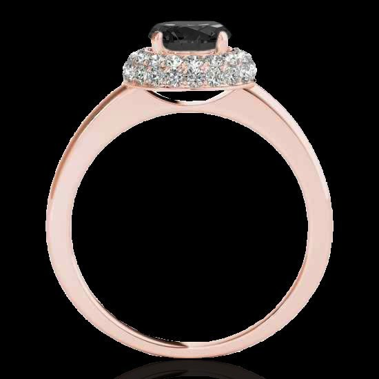 1.43 CTW Black Diamond Bridal Solitaire Halo Ring Gold - 2