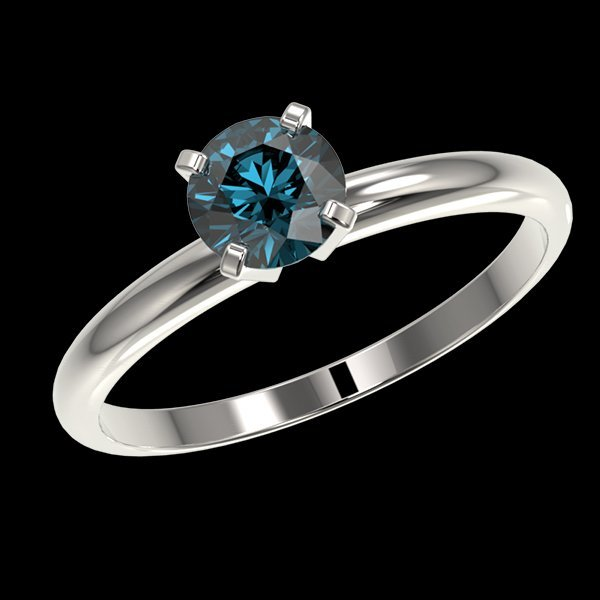 .77 CTW Intense Blue Diamond Solitaire Engagment Ring - 2