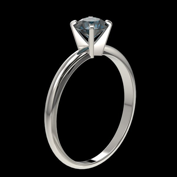 .77 CTW Intense Blue Diamond Solitaire Engagment Ring - 3