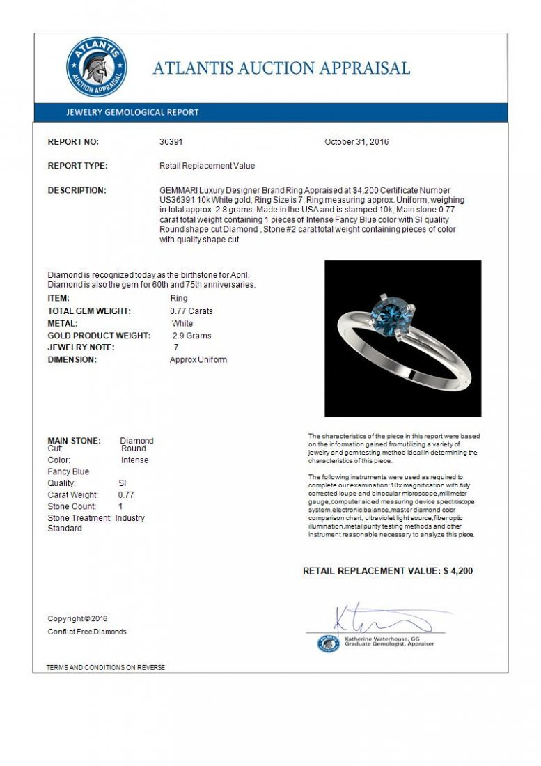 .77 CTW Intense Blue Diamond Solitaire Engagment Ring - 4