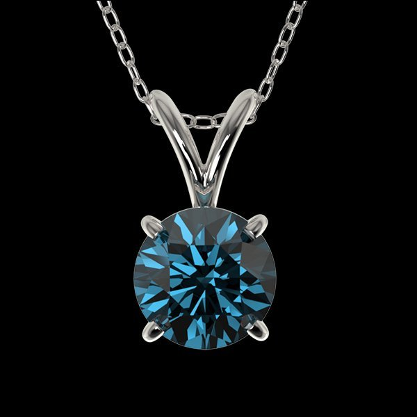 .75 CTW Intense Blue Diamond Solitaire Necklace Gold