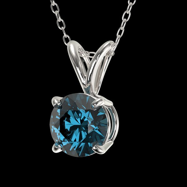 .75 CTW Intense Blue Diamond Solitaire Necklace Gold - 2