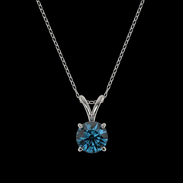 .75 CTW Intense Blue Diamond Solitaire Necklace Gold - 3