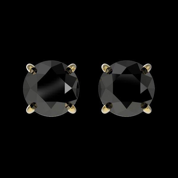 1.05 CTW Fancy Black Diamond Bridal Solitaire Stud