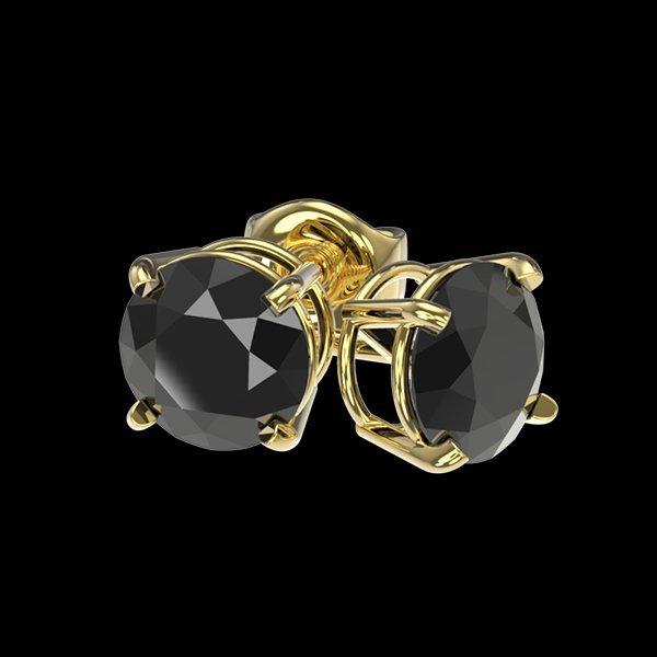 1.05 CTW Fancy Black Diamond Bridal Solitaire Stud - 3