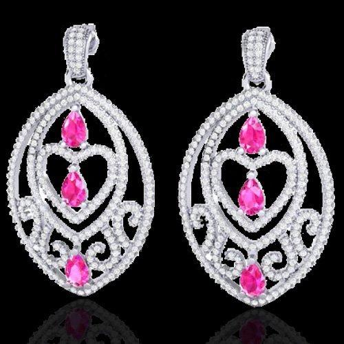 7 CTW Sapphire Pink & Micro Pave Diamond Heart Earring