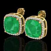 12 CTW Emerald  Micro Pave Halo Diamond Earring