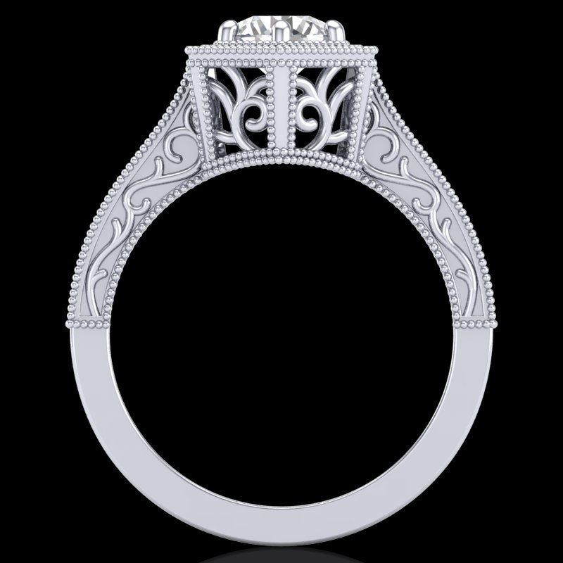 0.77 CTW VS/SI Diamond Art Deco Ring 18K White Gold -
