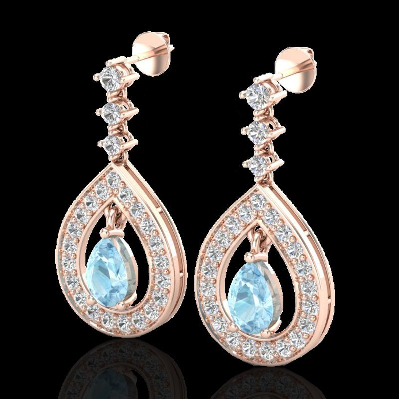 2.25 CTW Aquamarine & Micro Pave VS/SI Diamond Earring