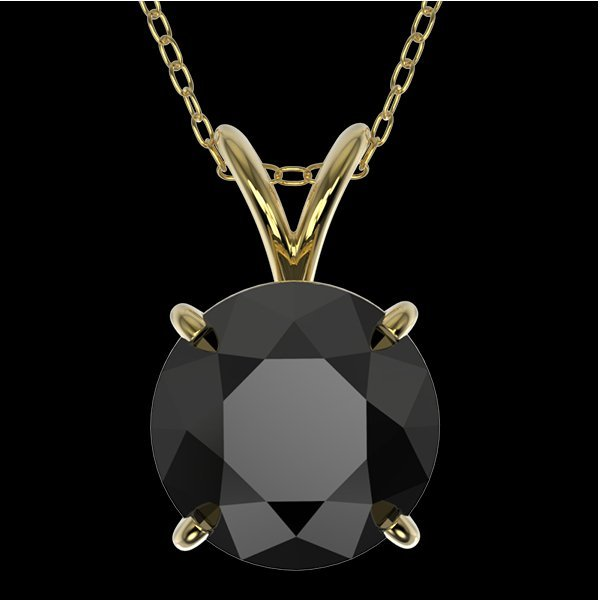 2 CTW Fancy Black Vs Diamond Bridal Solitaire Necklace