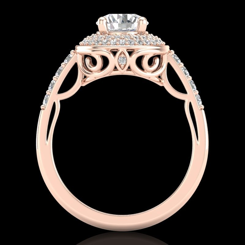 1.7 CTW VS/SI Diamond Bridal Solitaire Art Deco Ring