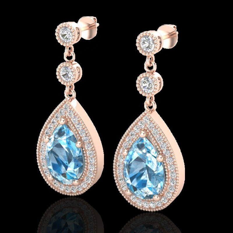 7.50 CTW Sky Topaz & Micro Pave VS/SI Diamond Earring