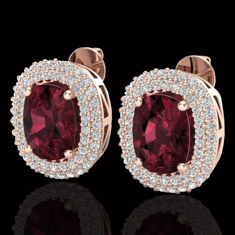 5.20 CTW Garnet & Micro Pave VS/SI Diamond Certified