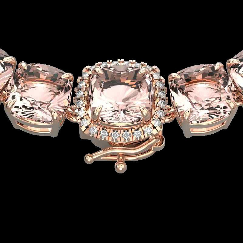 87 CTW Morganite & VS/SI Diamond Halo Micro Pave