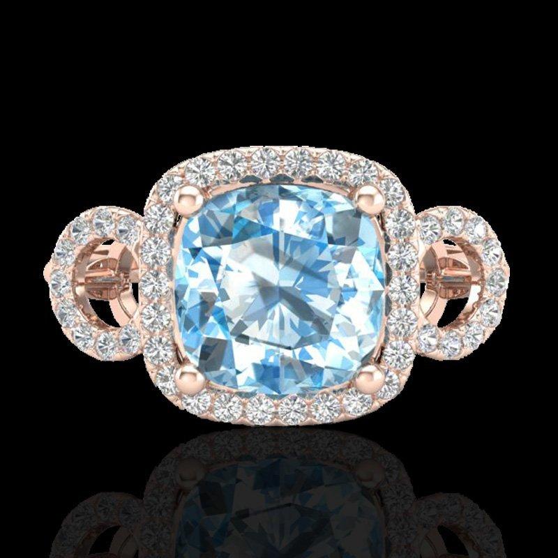 3.75 CTW Topaz & Micro VS/SI Diamond Certified Ring 14K