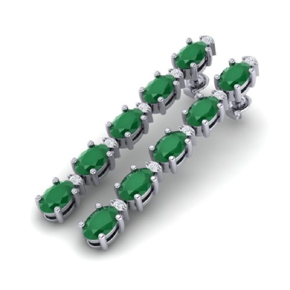 7 CTW Emerald & VS/SI Diamond Certified Tennis Earring