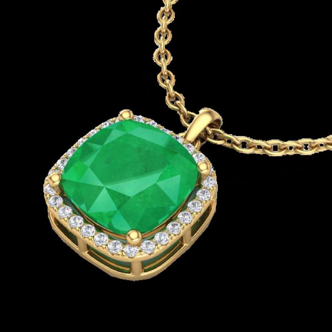 6 CTW Emerald & Micro Pave Halo VS/SI Diamond Necklace