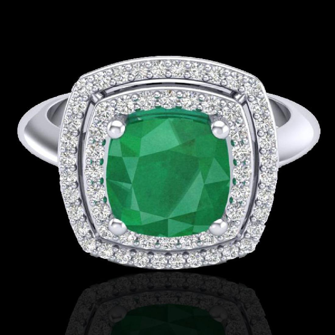 2.52 CTW Emerald & Micro VS/SI Diamond Certified Pave