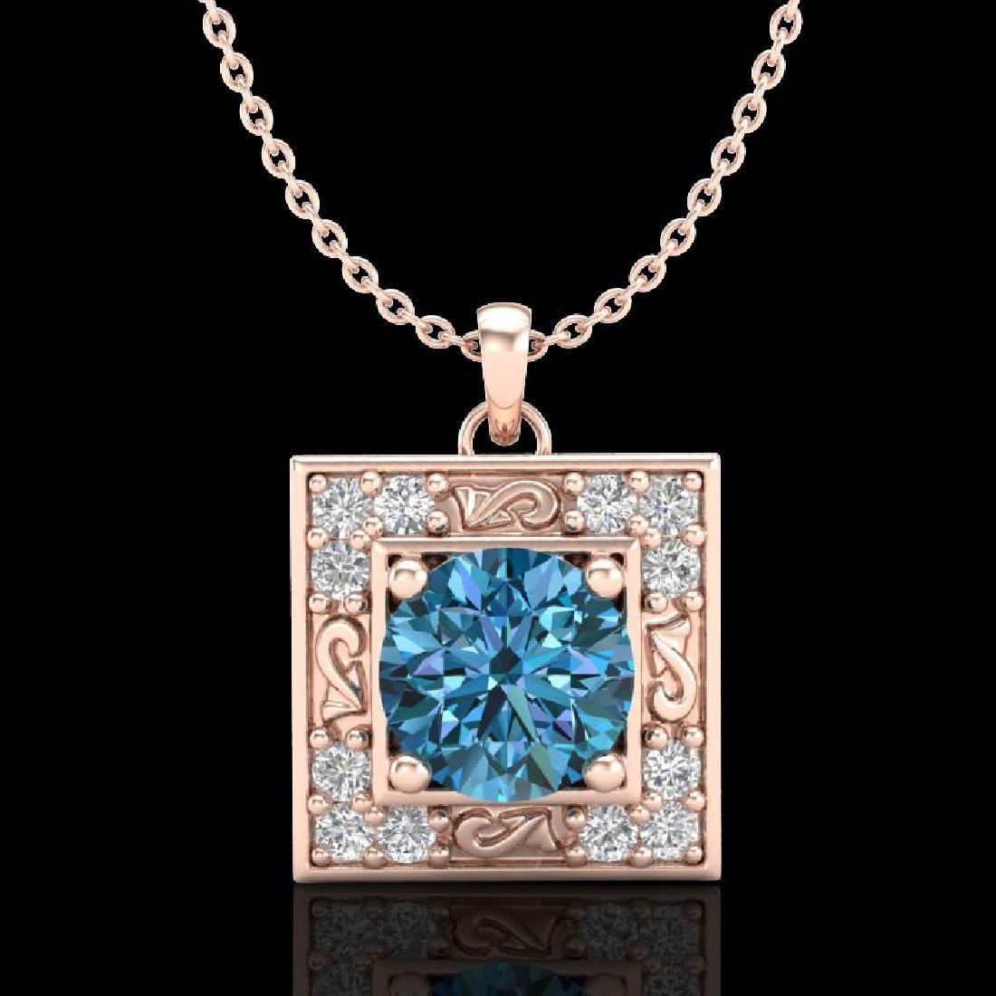 1.02 CTW Fancy Intense Blue Diamond Solitaire Art Deco