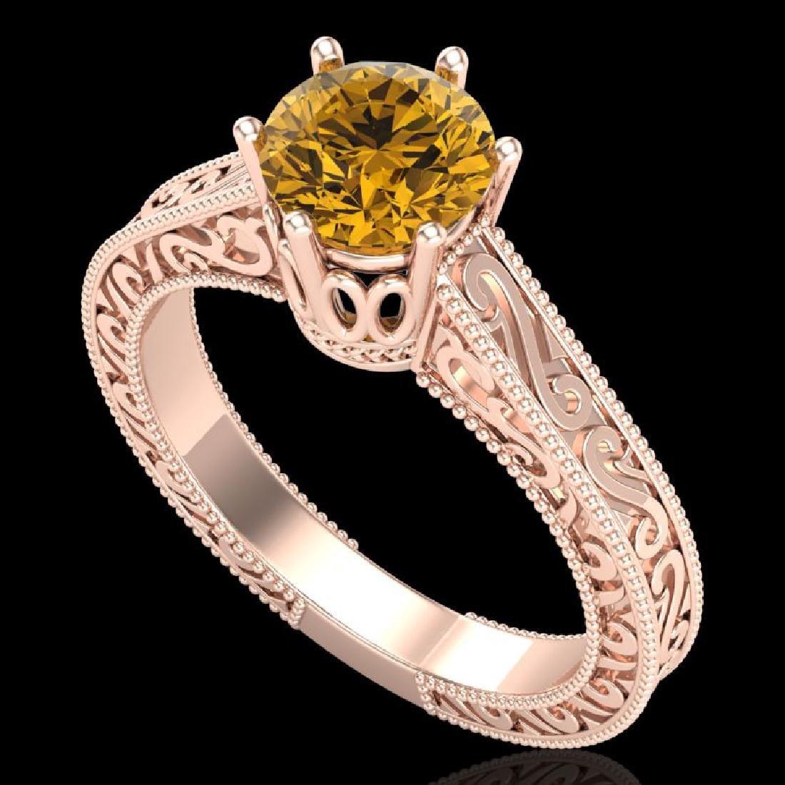 1 CTW Intense Fancy Yellow Diamond Engagment Art Deco