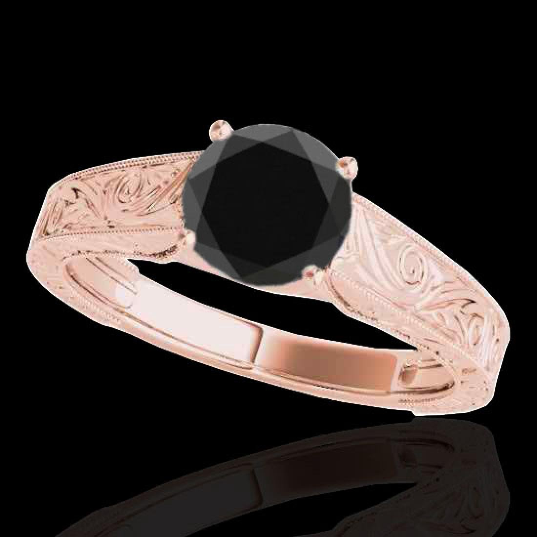 1 CTW Certified Vs Black Diamond Solitaire Bridal Ring