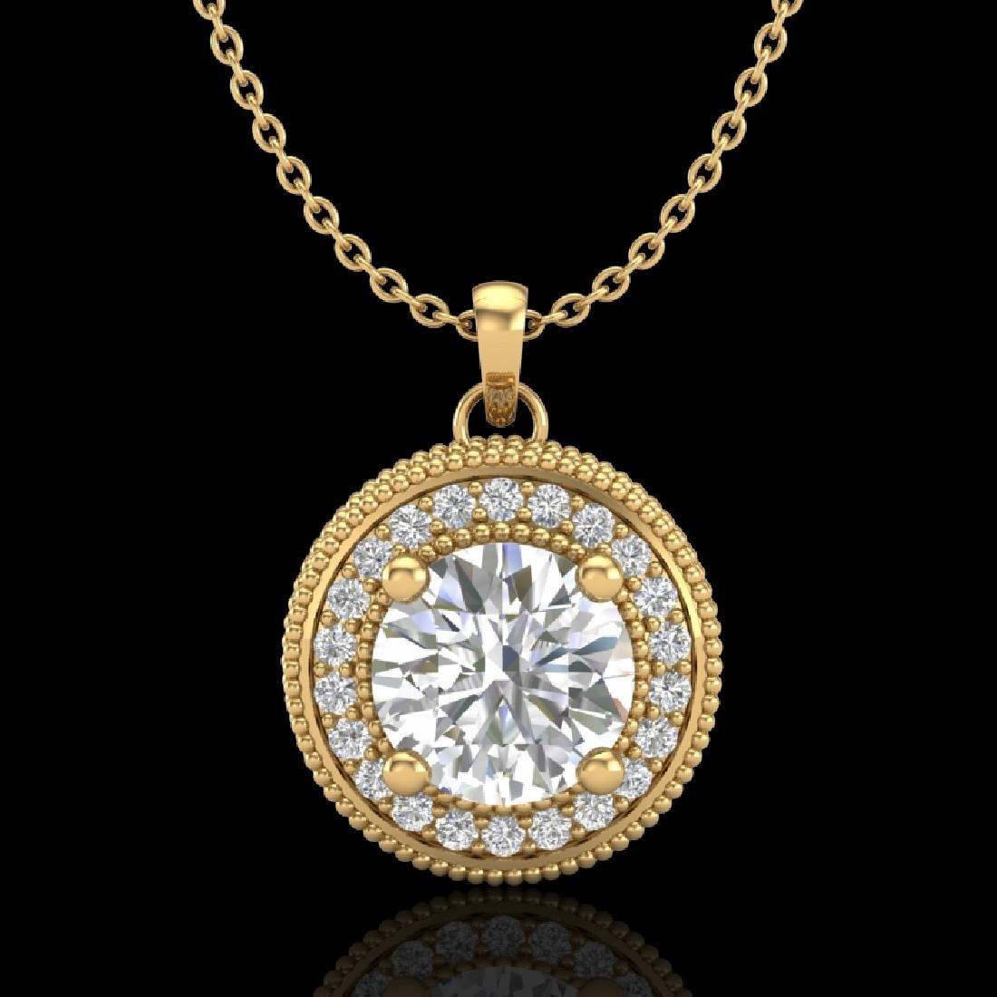 1.25 CTW VS/SI Diamond Solitaire Art Deco Necklace 18K