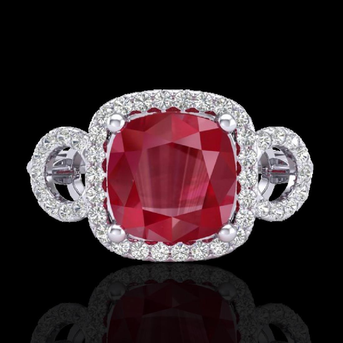 3.15 CTW Ruby & Micro VS/SI Diamond Certified Ring 18K