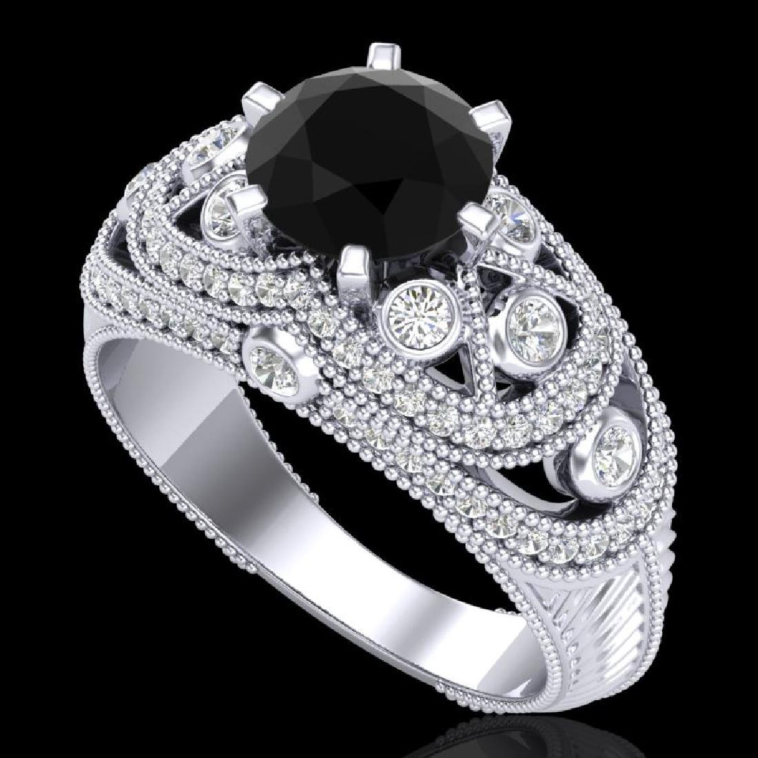 2 CTW Fancy Black Diamond Solitaire Engagment Art Deco