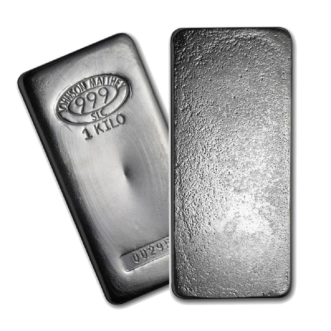 One piece 1 kilo 0.999 Fine Silver Bar Johnson Matthey