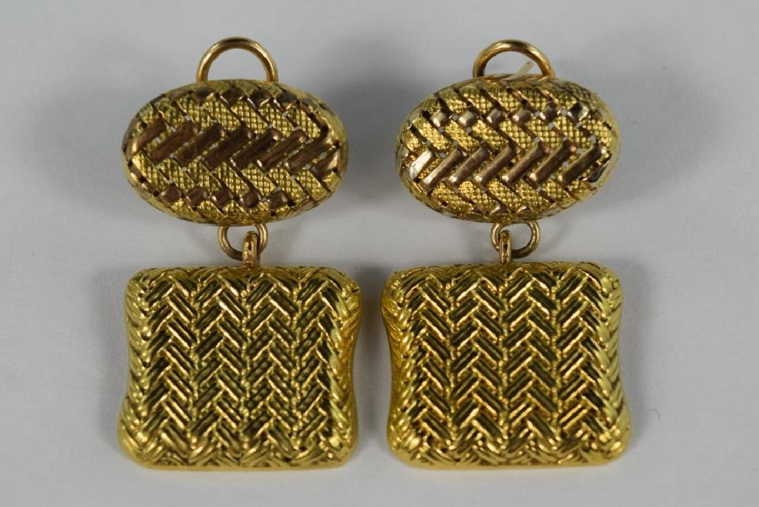 14K GOLD RETRO BASKET WEAVE DANGLE EARRINGS