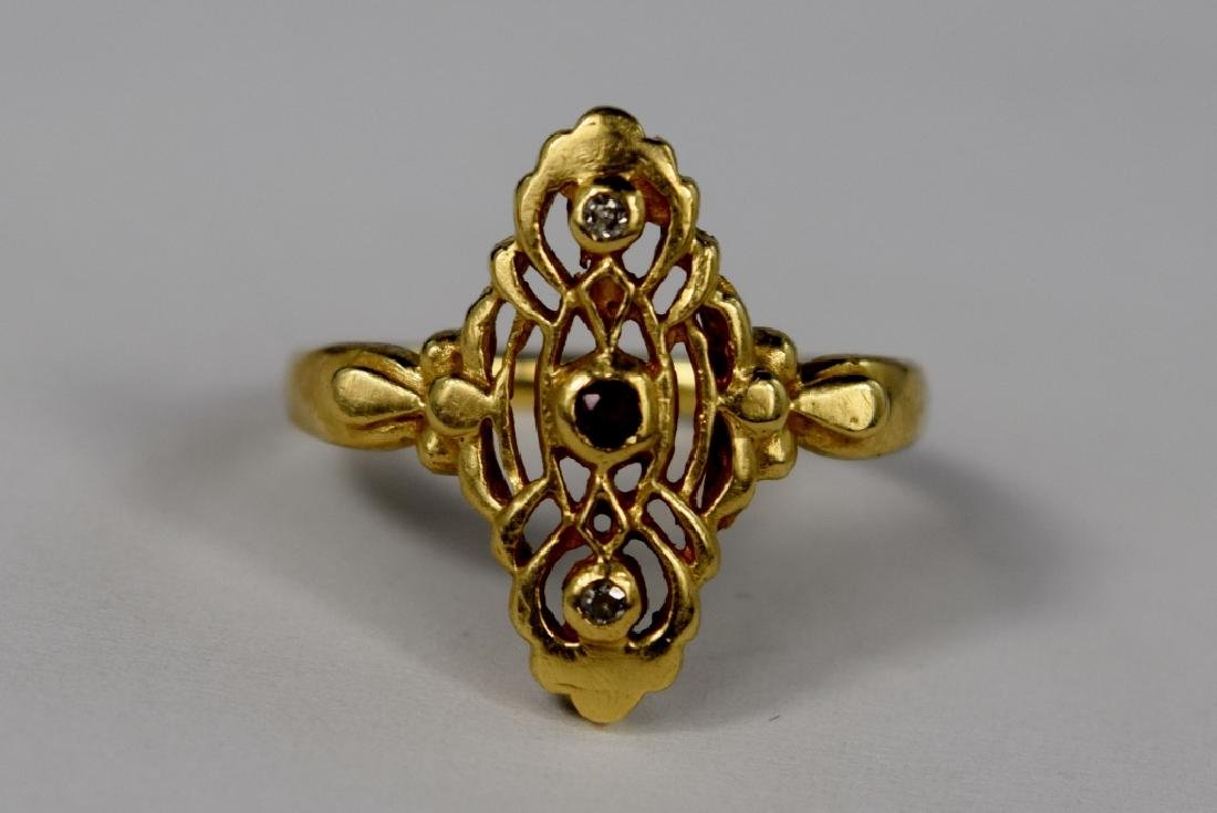 VINTAGE 14K GOLD DIAMOND & RUBY ART DECO RING