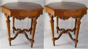 ANTIQUE CARVED WOOD OCTAGONAL MARQUETRY TABLES