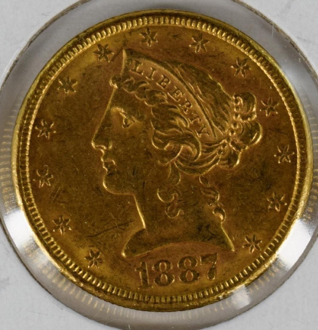 1887 S $5 GOLD LIBERTY HALF EAGLE COIN UNGRADED