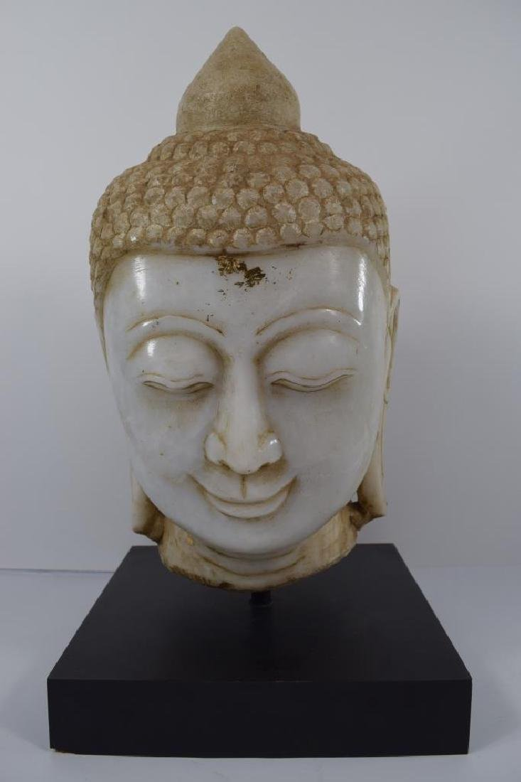 BEAUTIFULLY CARVED VINTAGE MARBLE BUDDHA HEAD BUST