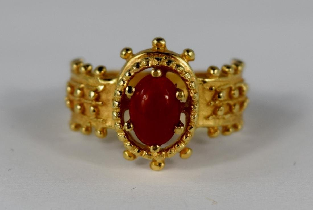 UNIQUE 14K GOLD RED CORAL CABOCHON RING