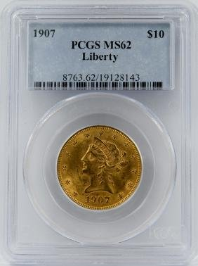 1907 $10 GOLD LIBERTY EAGLE COIN PCGS MS62