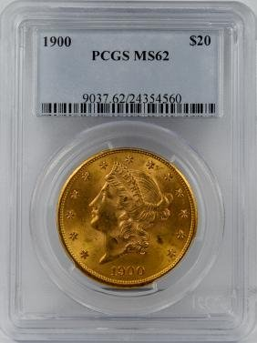 1900 $20 GOLD LIBERTY DOUBLE EAGLE COIN PCGS MS62