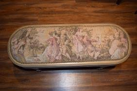 CONTINENTAL WOODEN BENCH SEAT FRENCH TAPESTRY