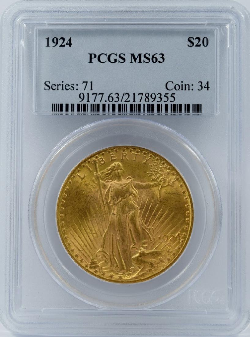 1924 $20 GOLD ST GAUDENS DOUBLE E COIN PCGS MS63