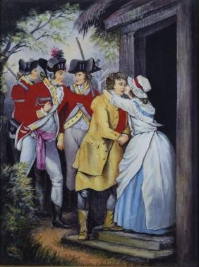 ANTIQUE ENGLISH HAND PAINTED PORCELAIN PLAQUE